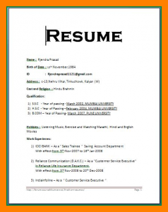 simple resume format in word file