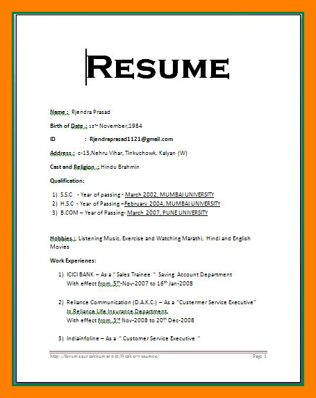High Quality Simple Resume Format In Word Regard To Word Resume Format