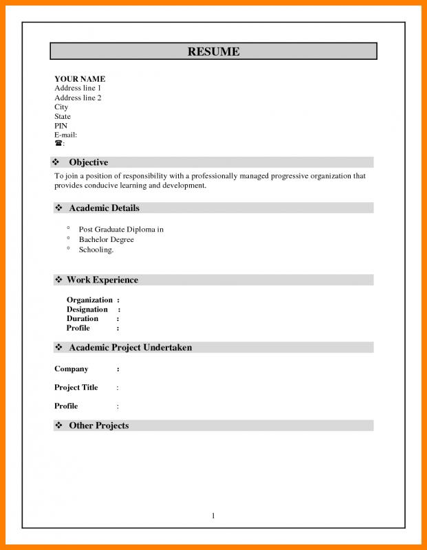Simple Resume Format In Phrase  Word Resume Format