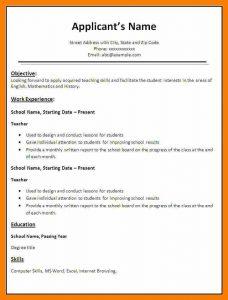 simple resume format in word simple resume format in word file