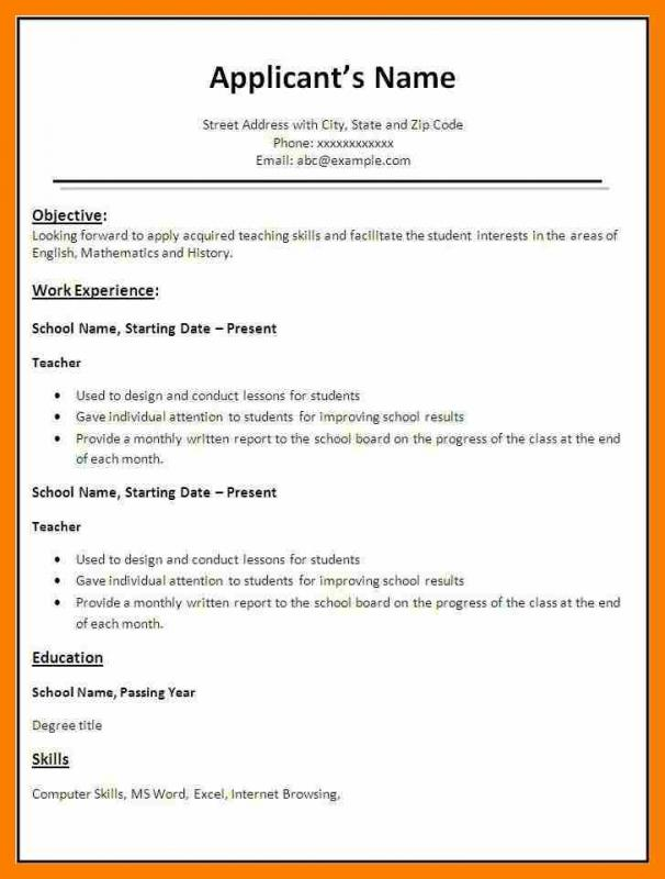 Simple Resume Format In Word  Template Business