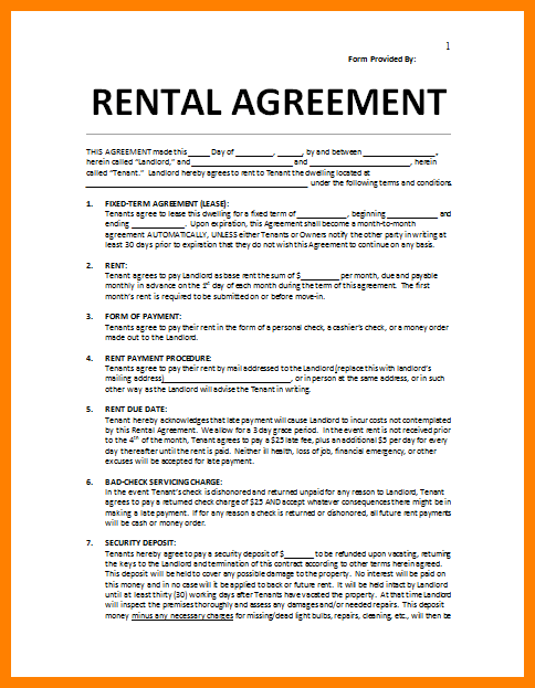 Simple Room Rental Agreement Form Free Template Business