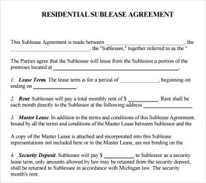 Simple Room Rental Agreement Form Free Residential Sublease Agreement  Template  Generic Residential Lease Agreement