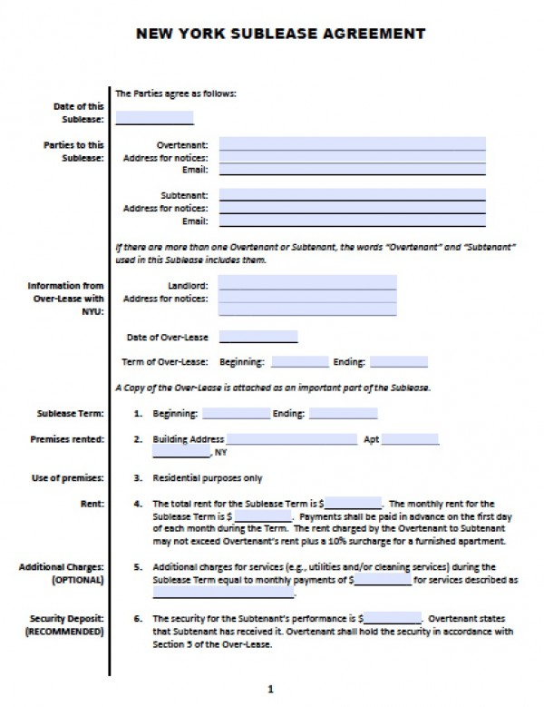 Simple Sublease Agreement  Template Business