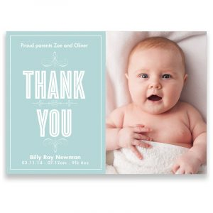 simple thank you note funny smile boy handsome and cute with blue eyes thank you card from baby pround parents zoe and oliver billy ray newman