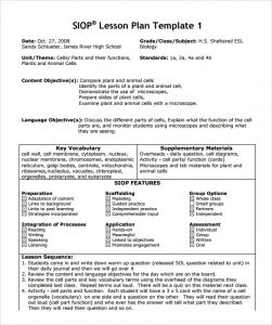 siop lesson plan sample siop lesson plan template example