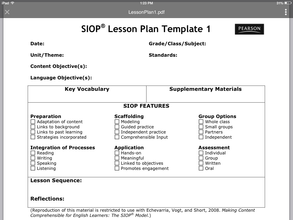 siop lesson plan