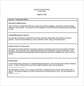 small business plan template sample small business plan template