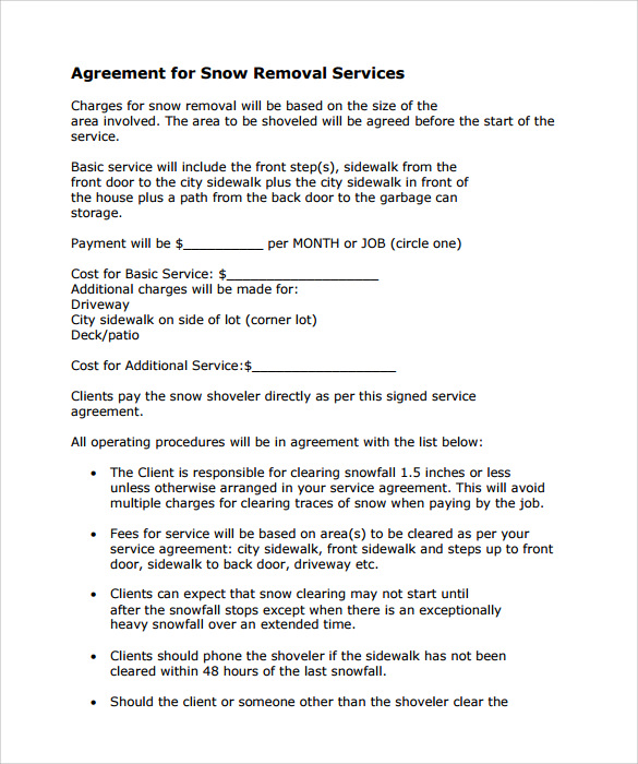 Snow Plowing Contracts