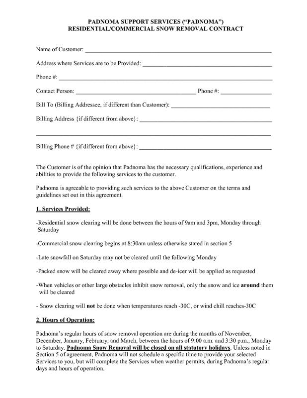 Snow Plowing Contracts | Template Business