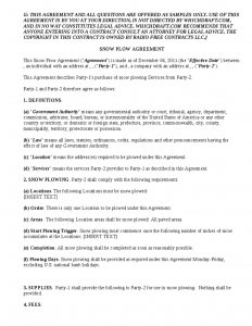 snow removal contract snow plow agreement for customers