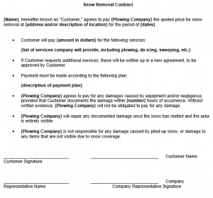 snow removal contract snow removal contracts