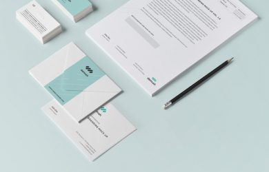 social media business card stationary branding corporate identity mock up simplified vol