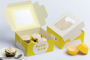 social media on business cards four cupcake box mockup preview