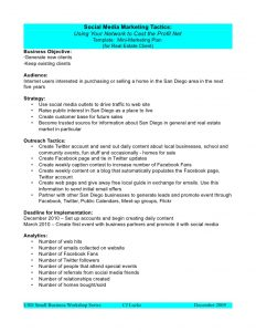 social media proposal social media marketing plan template
