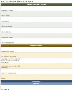 social media strategy template social media strategy plan template