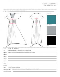 spec sheet template bamboo pleated lounge dress spec sheet tech generic