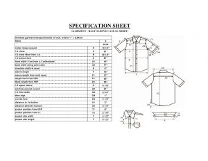spec sheet template spec sheet of a casual shirt