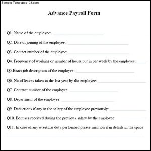 special power of attorney form sample advance payroll form