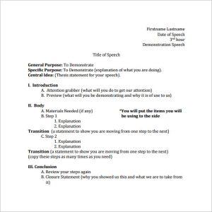 speech outline format download demonstration speech outline template