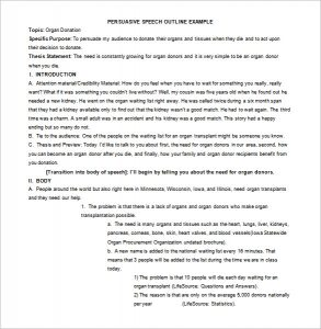 speech outline format persuasive speech outline example