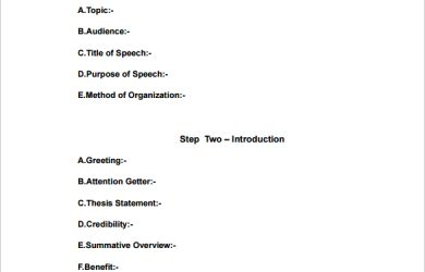 speech outline format sample speech outline pdf template free download