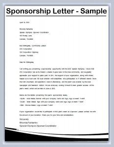 sponsorship letter template sponsorship letter