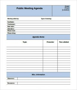staff meeting agenda template editable public meeting agenda template