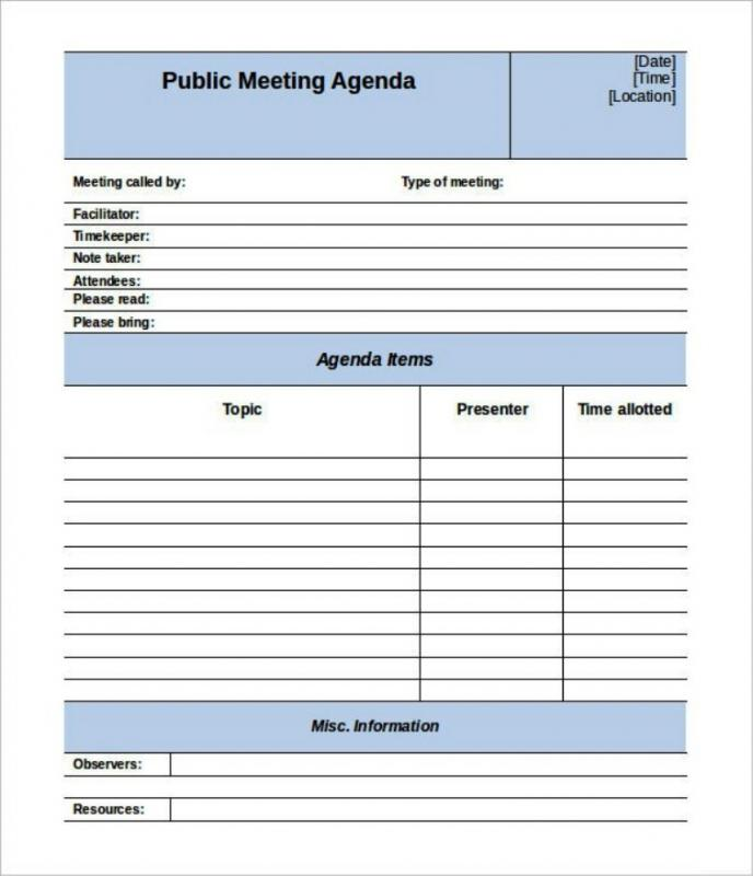 staff meeting agenda template