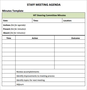 staff meetings agenda template sample staff meeting agenda template
