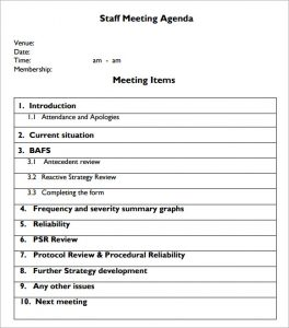 staff meetings agenda template staff meeting agenda format