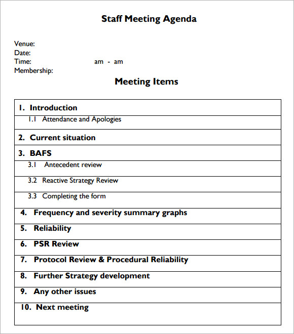 staff meetings agenda template