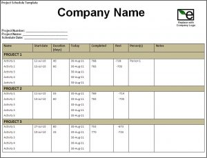 staff schedule template project schedule template