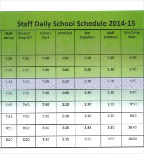 staff schedule template staff daily schedule template