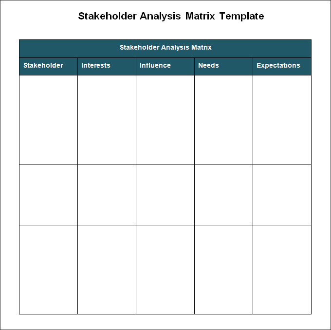 Sample stakeholder analysis
