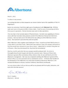 standard job application albertsons recommendation letter