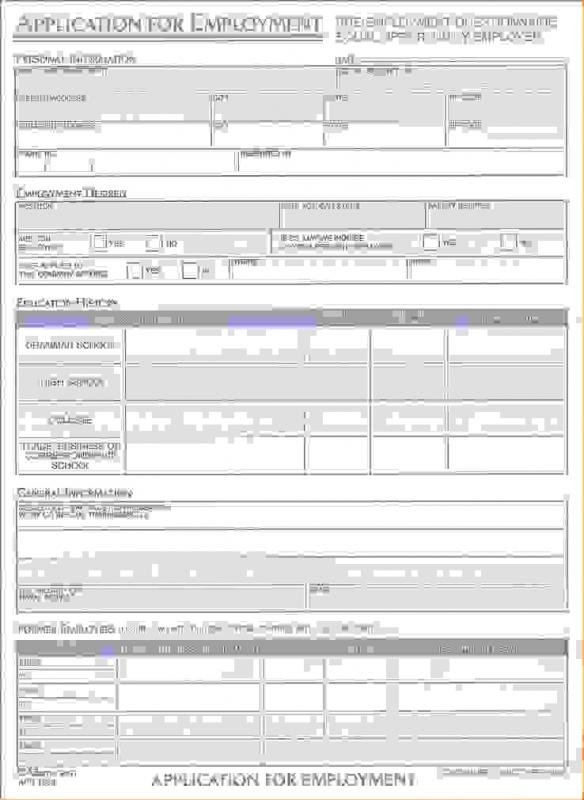 standard job application form