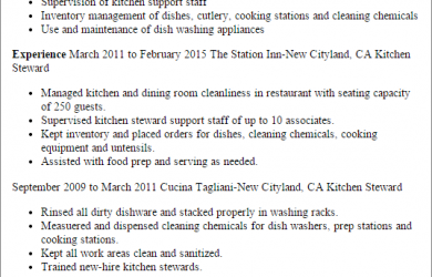 standard operating procedure examples kitchen steward