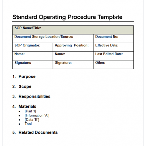 standard operating procedure examples