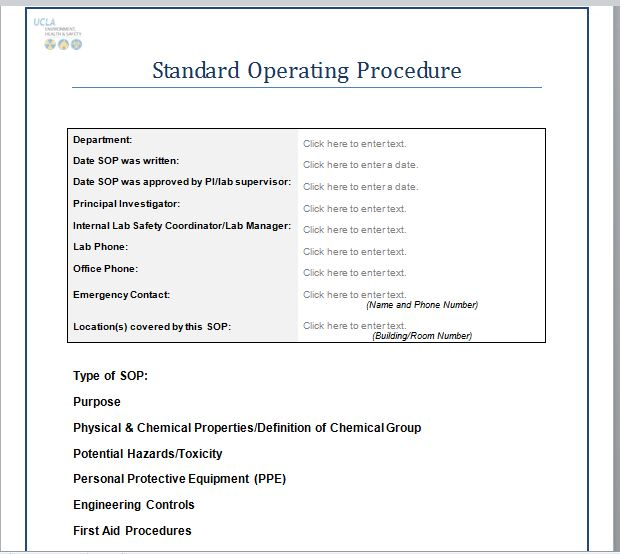 standard operating procedures template