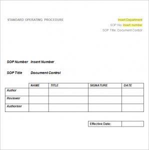 standard operating procedures template standard operating procedure template image