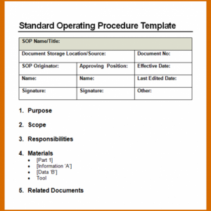 standard operating procedures template standard operating procedures templates sop x