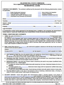 standard rental application oklahoma real estate commission residential lease agreement x