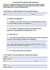 standard rental application vermont month to month lease agreement x