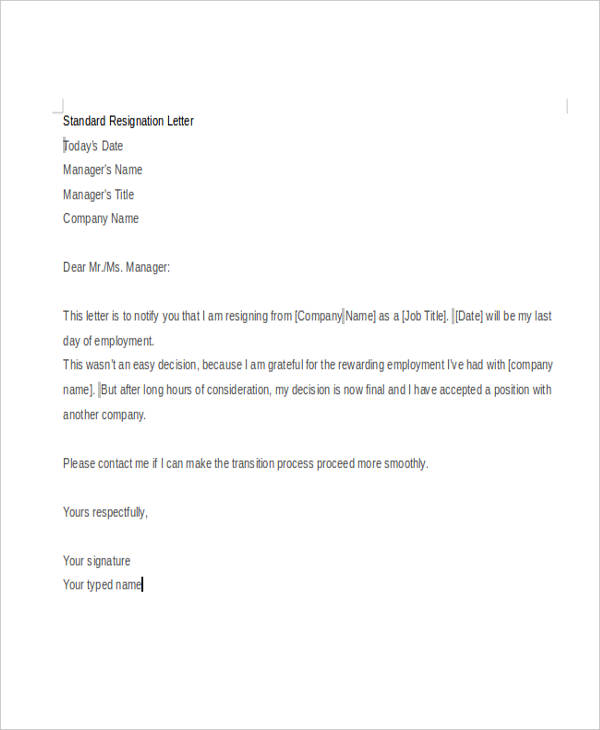 Standard Resignation Letters | Template Business