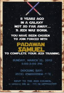 star wars birthday invitation jedi invite blur