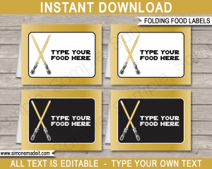 star wars invitations free printable gold star wars food labels