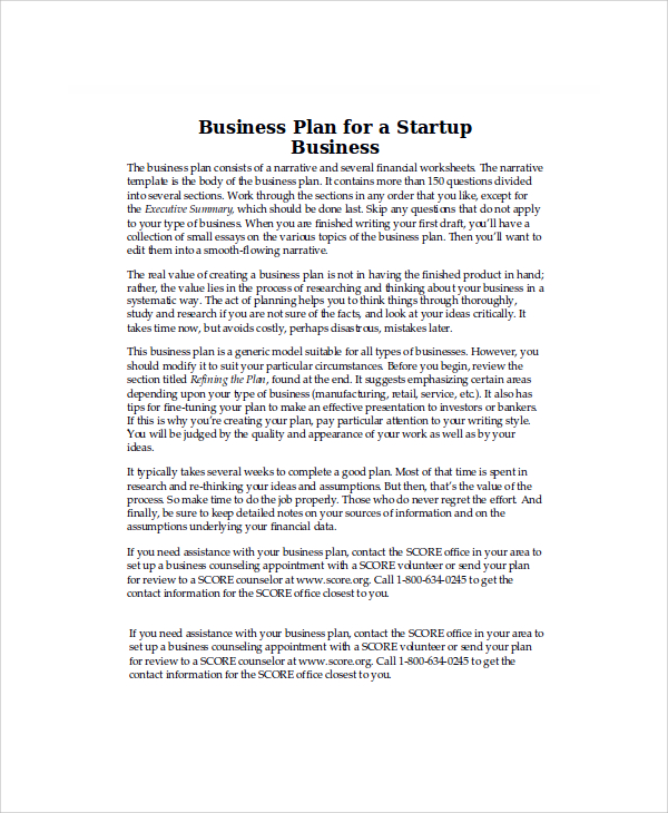 Startup Business Plan Example  Template Business