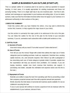 Startup Business Plan Template Template Business - Start up business plan template free