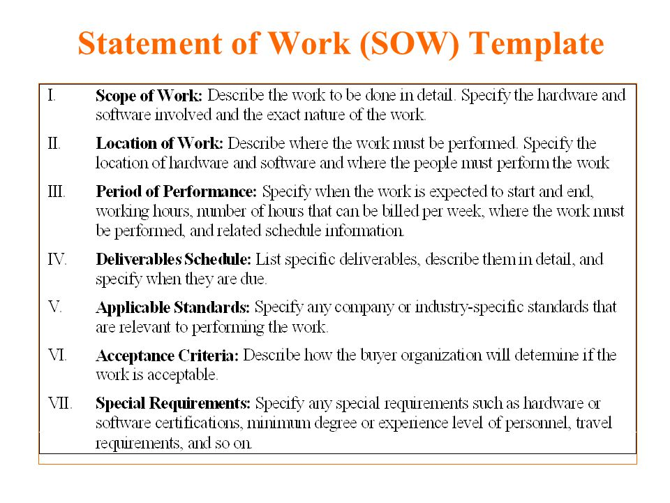 Statement Of Work Example  Template Business